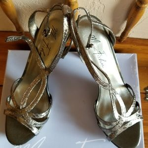 Strappy heeled sandals, new, never worn